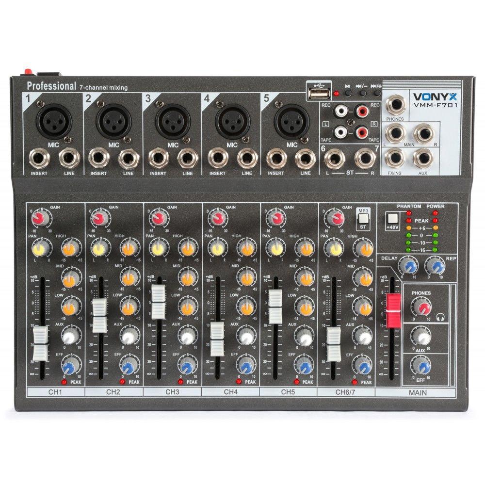 7-kanálový mixér VONIX VMM-F701 USB PHANTOM RCA