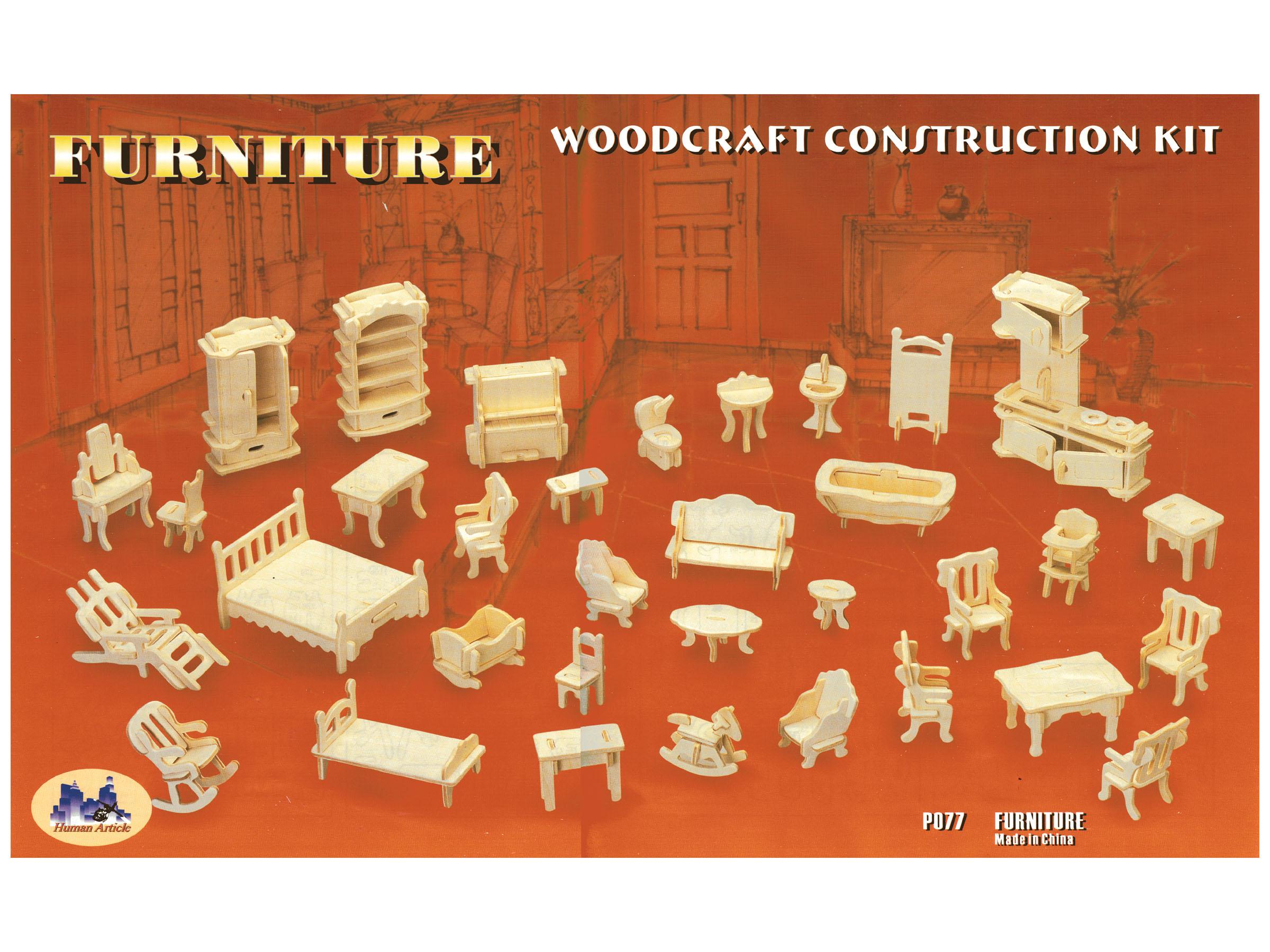 Mebelki drewniane dla lalek 34szt puzzle 3D P077