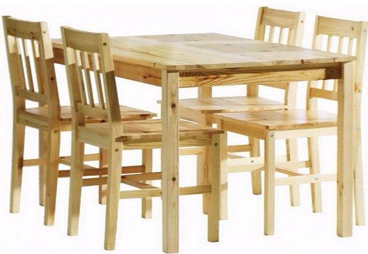 Stôl a 4 stoličky, jedálne, Stoličky Borovica