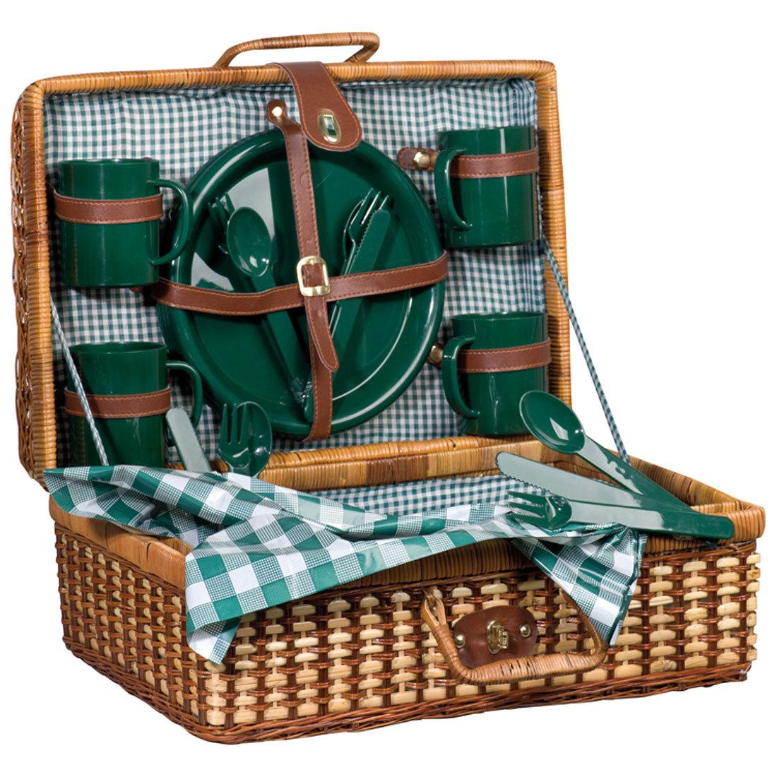 Vintage piknikový Kôš vyrobený z ratanu pre 4 osoby svadobný dar