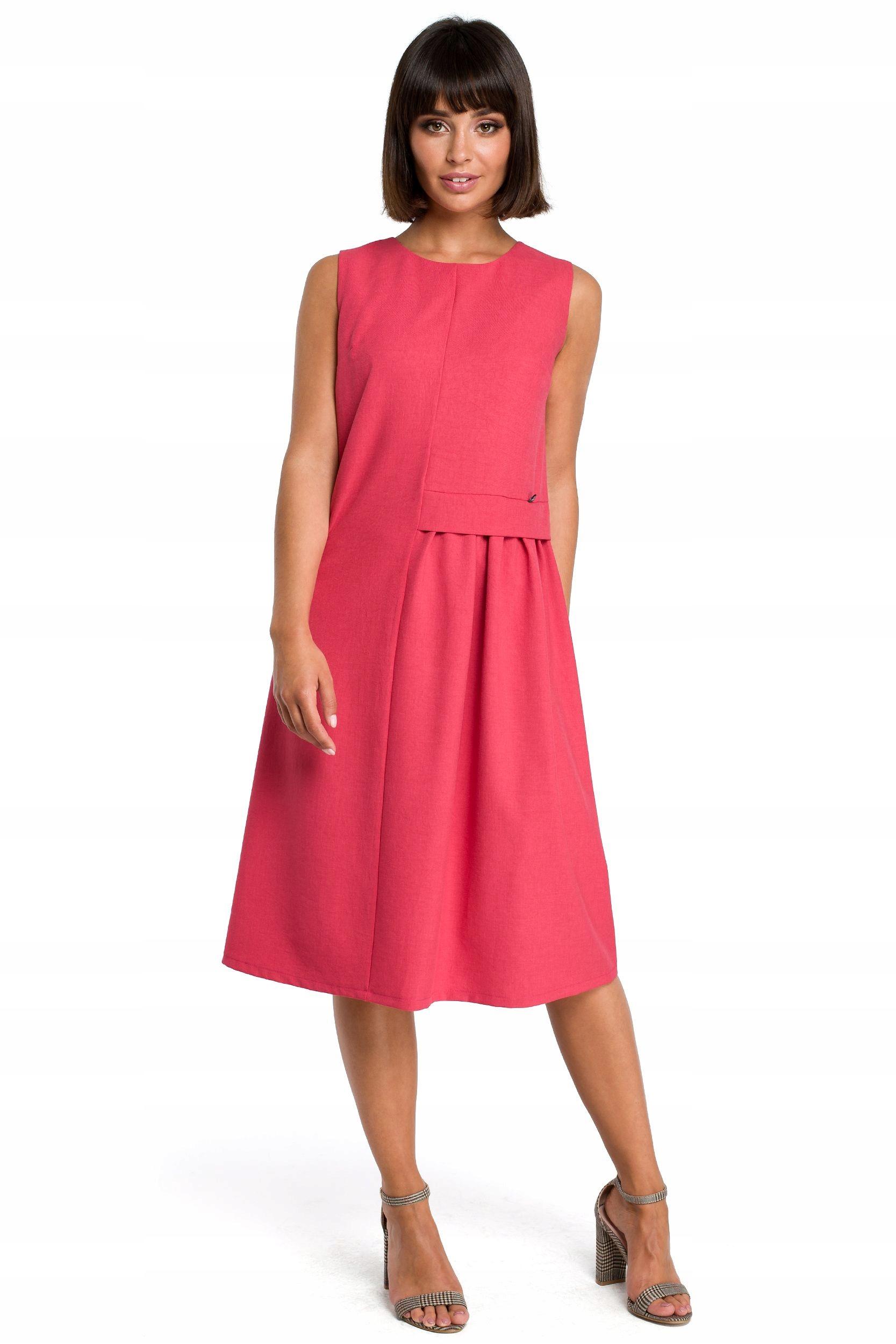 B080 Zwiewna sukienka midi bez rękawów - różowa 36