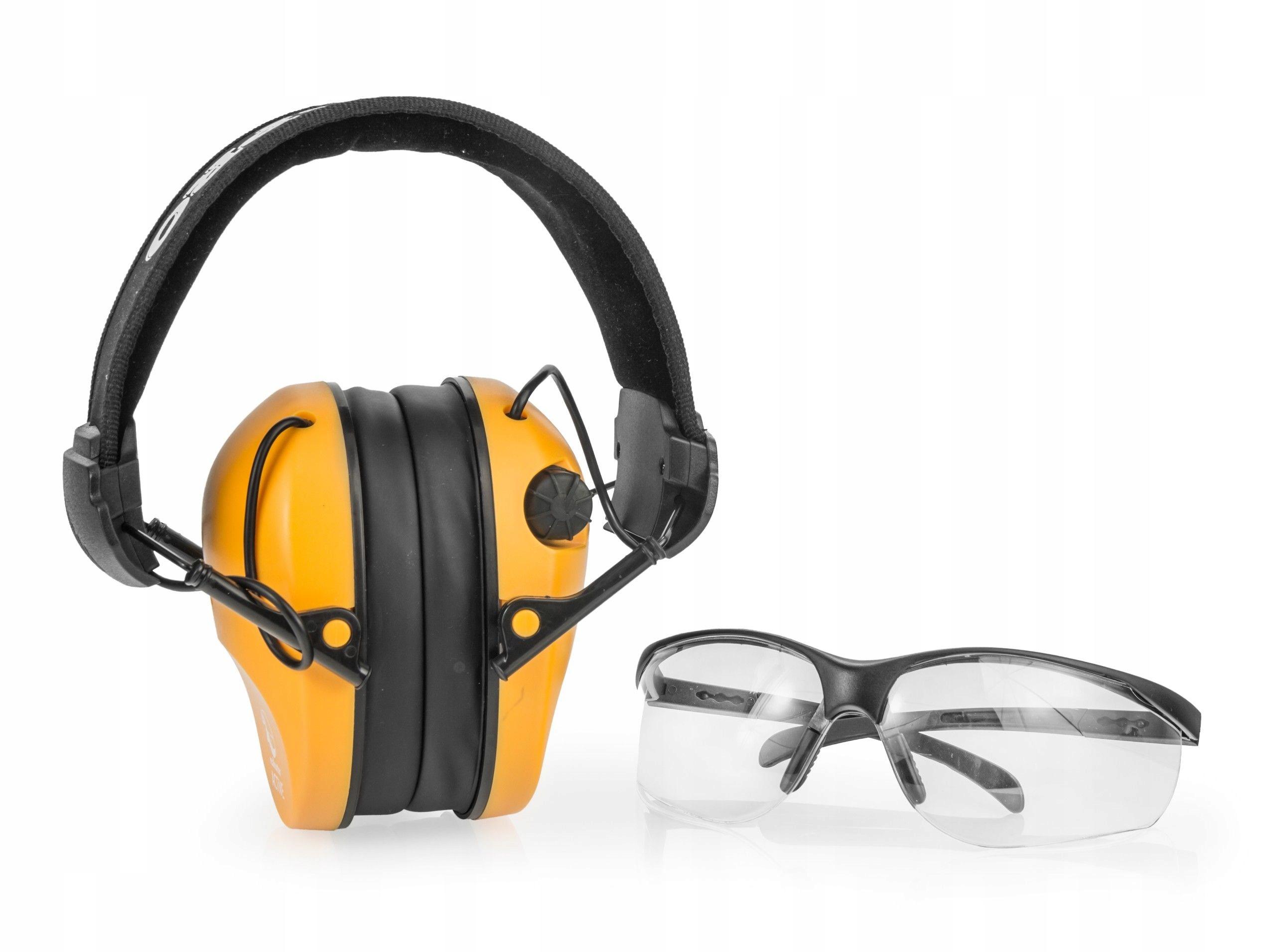 Slúchadlá aktívne ochranné + okuliare malé