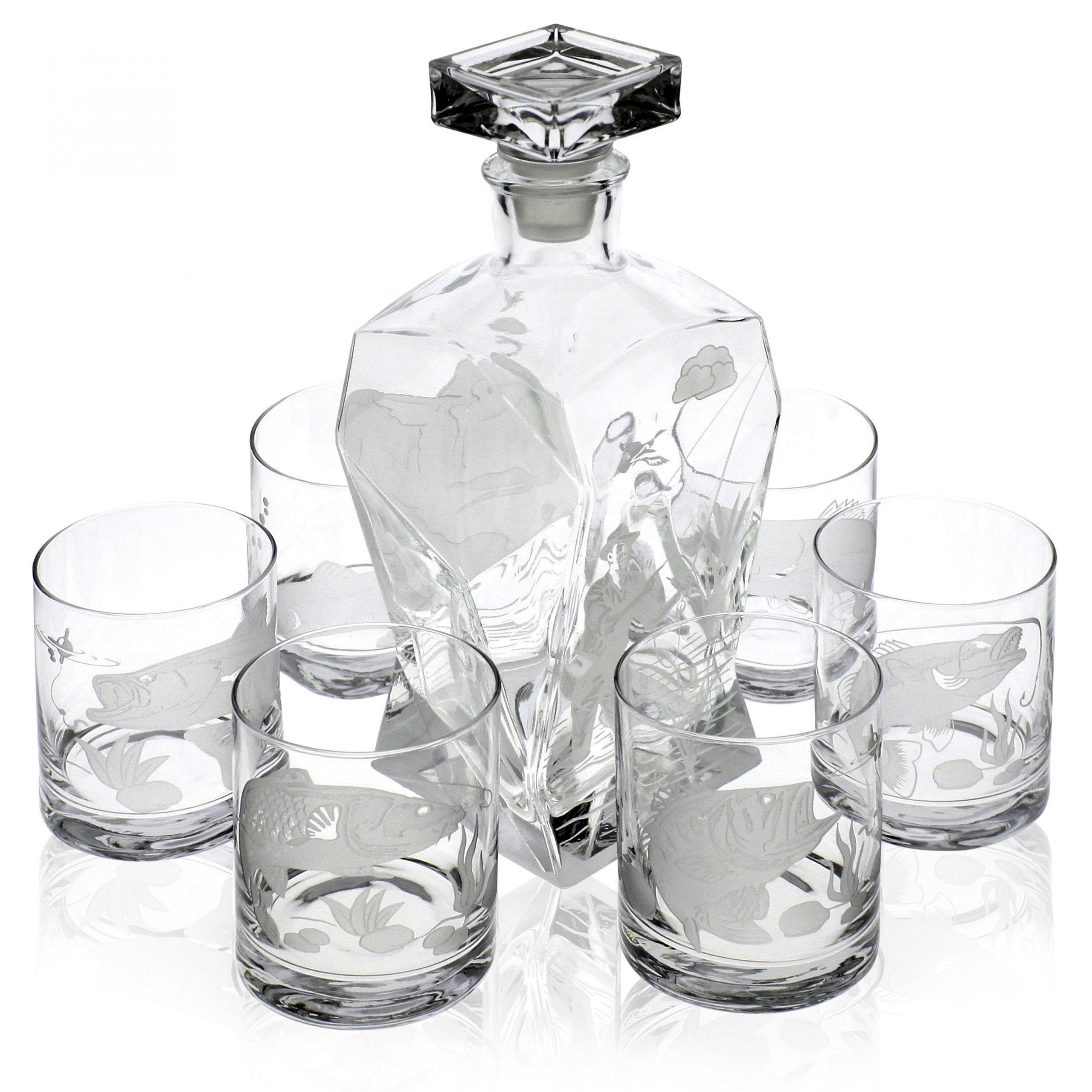 Piękny komplet karafka i szklanki do whisky 6+1 -