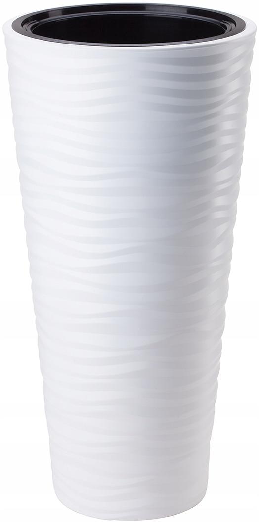 Цветочный ГОРШОК САХАРА 3D ВЫСОКАЯ с ВКЛАДОМ H56 FI30 белая