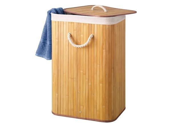 Kosz na bieliznę pranie bambusowy pojemnik 75l
