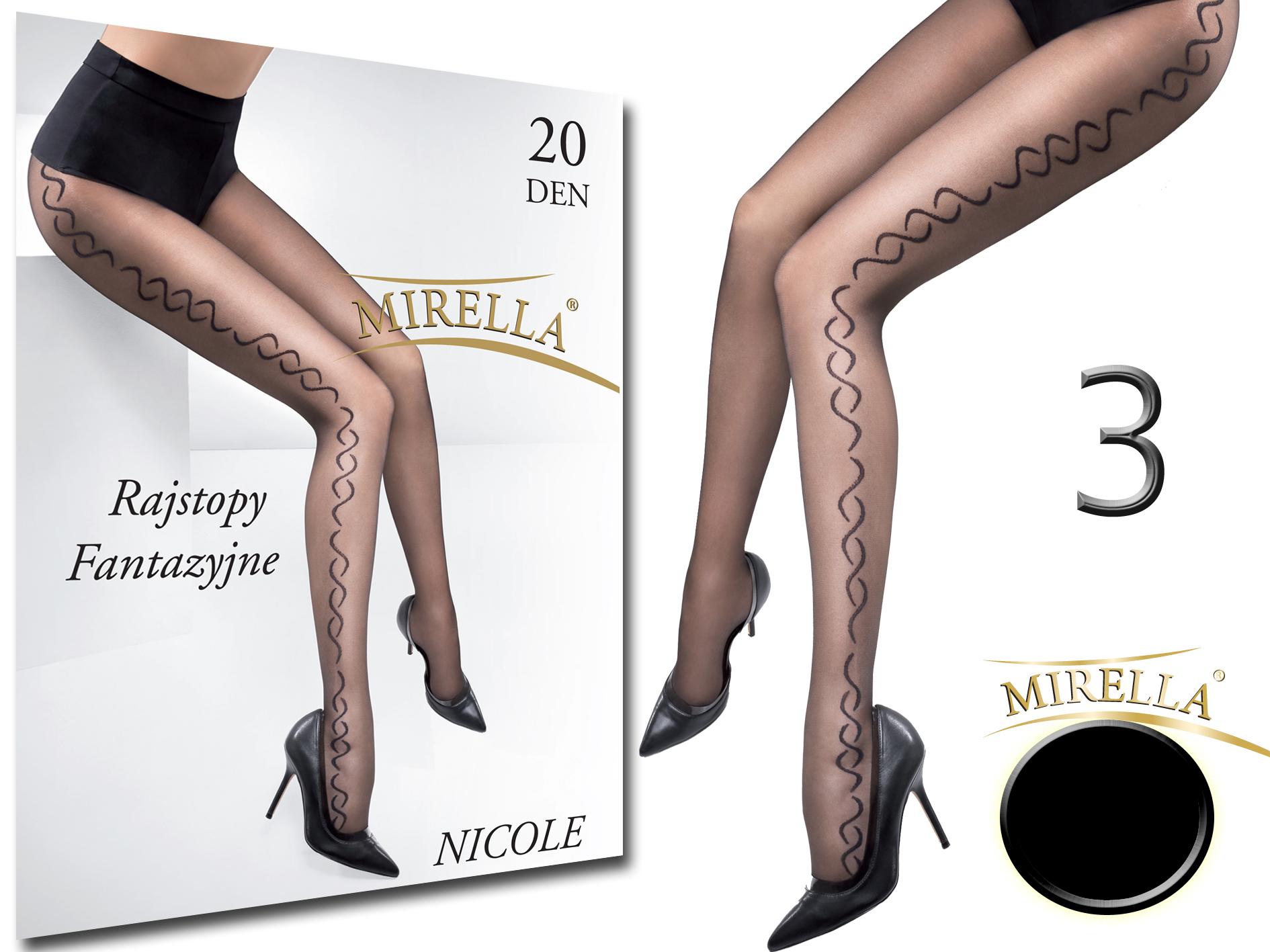 Mirella Rajstopy we wzory 20den Nicole 3 (L) Nero