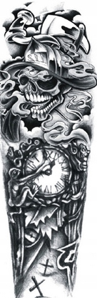 Item Watch tattoo time skull unique large sleeve 23