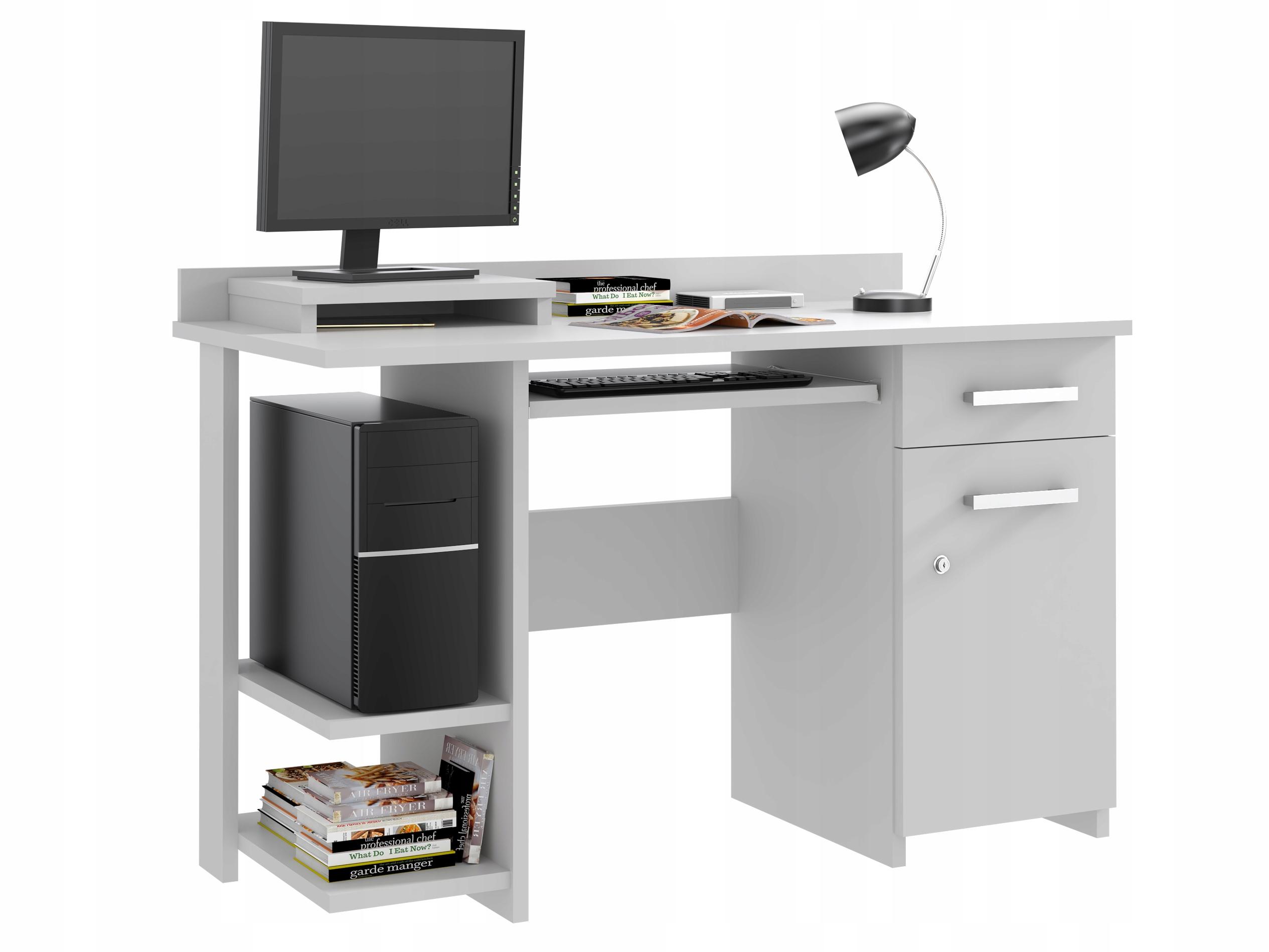 Biurko Komputerowe Alfa Białe Do Biura Gabinetu