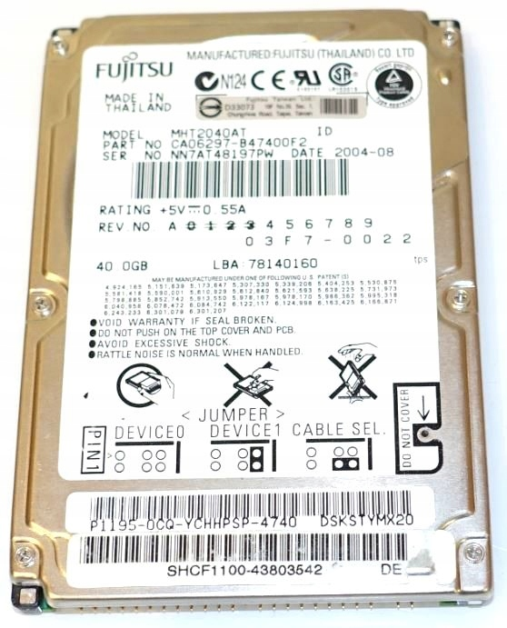 Электроника накопителя IDE 2.5 Fujitsu MHT2040AT 40 ГБ