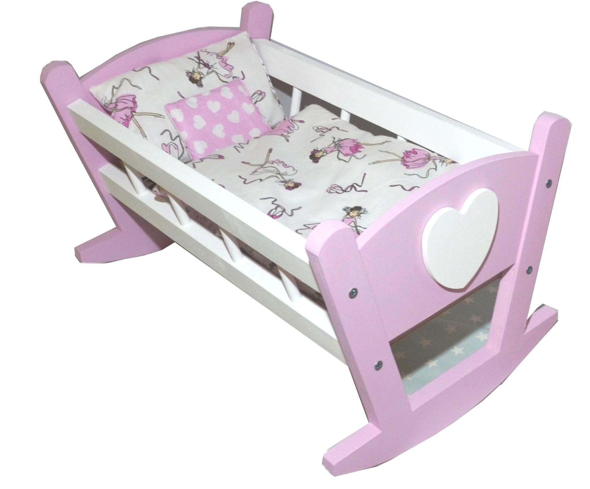 Postieľka drevená postieľka pre bábiky +posteľná bielizeň 4 el