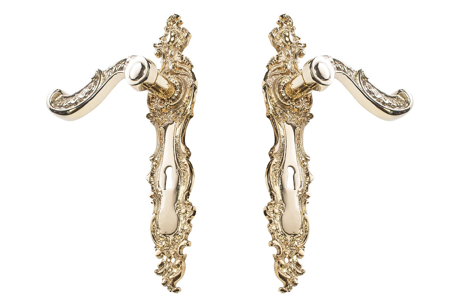 Retro mosadzná kľučka na dvere s mosadzným kľúčom 72