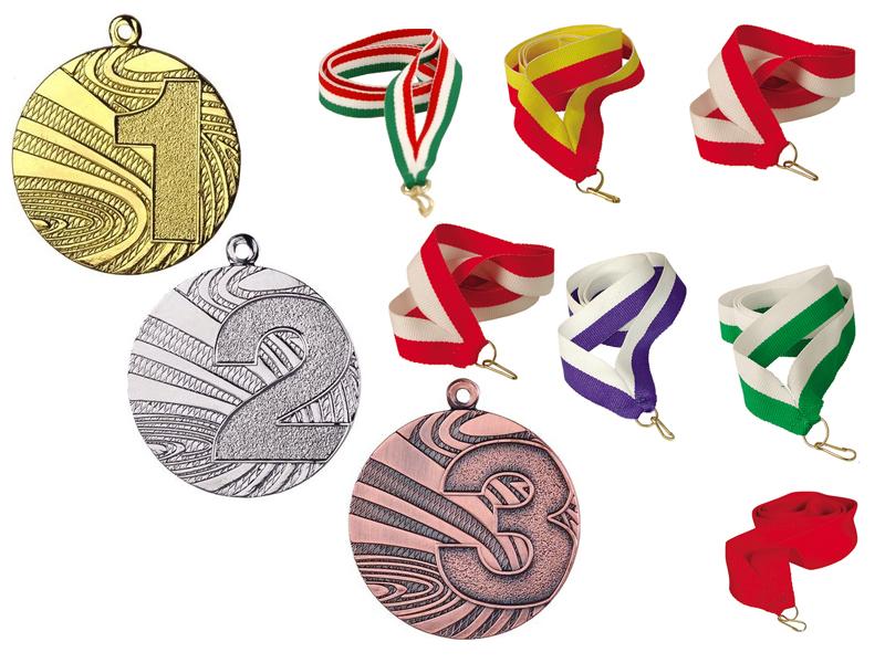 Medaily Medant Gold Silver Bronze + Ribbon + Engrin