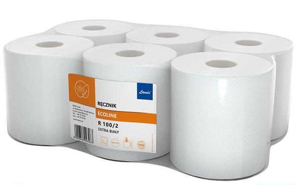 Полотенца бумажные в рулонах, белые, дл. 100м, 6 шт