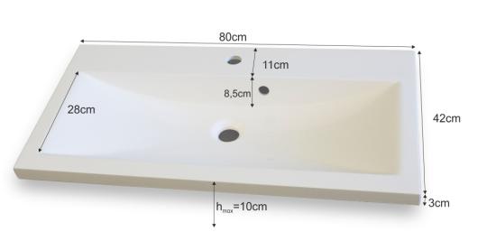 Pravouhlé Umývadlo 80 LAMAR bielej kúpeľni, umývadlo