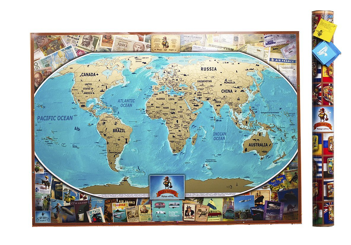 MAPY SVETA, POŠKRIABANIU mapu VINTAGE Farba + PRÍRASTKY
