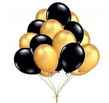 Item Balloons BLACK and GOLD new year in a big 34cm 50pcs.
