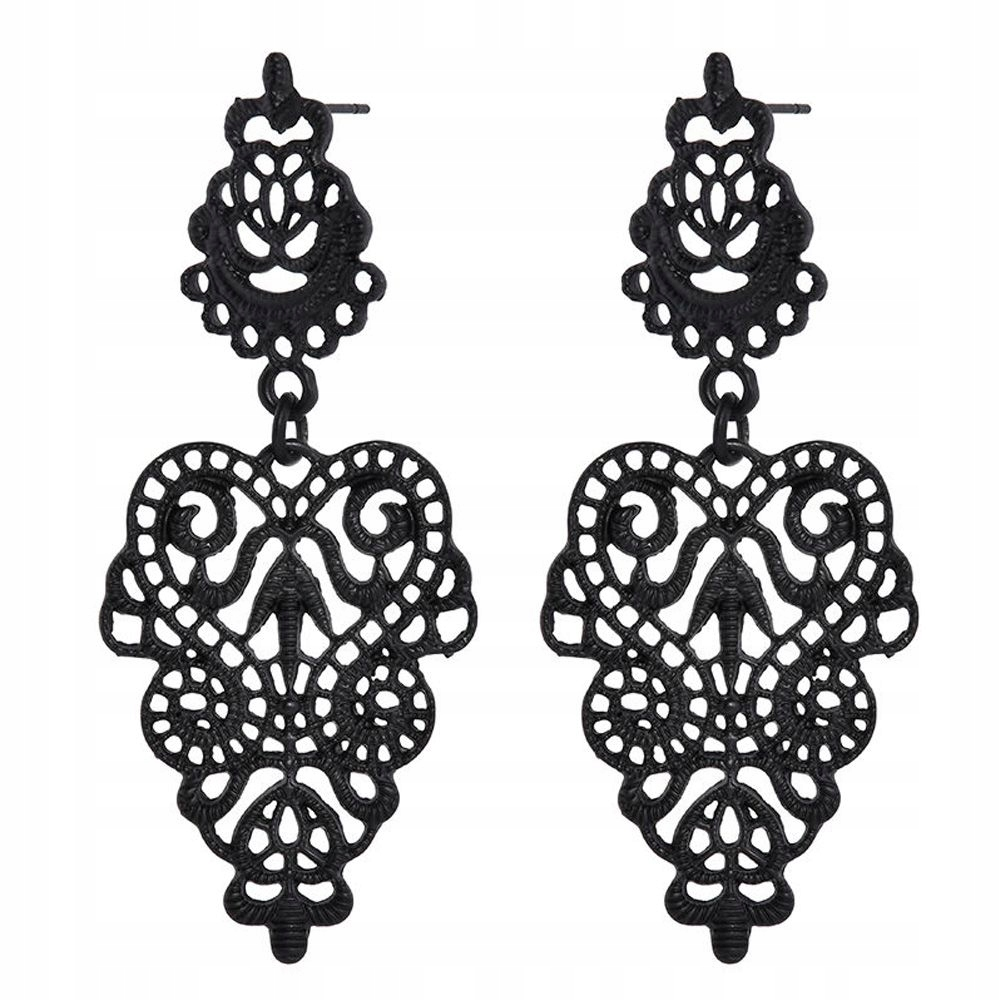 Item Earrings black openwork openwork boho tribal flowers