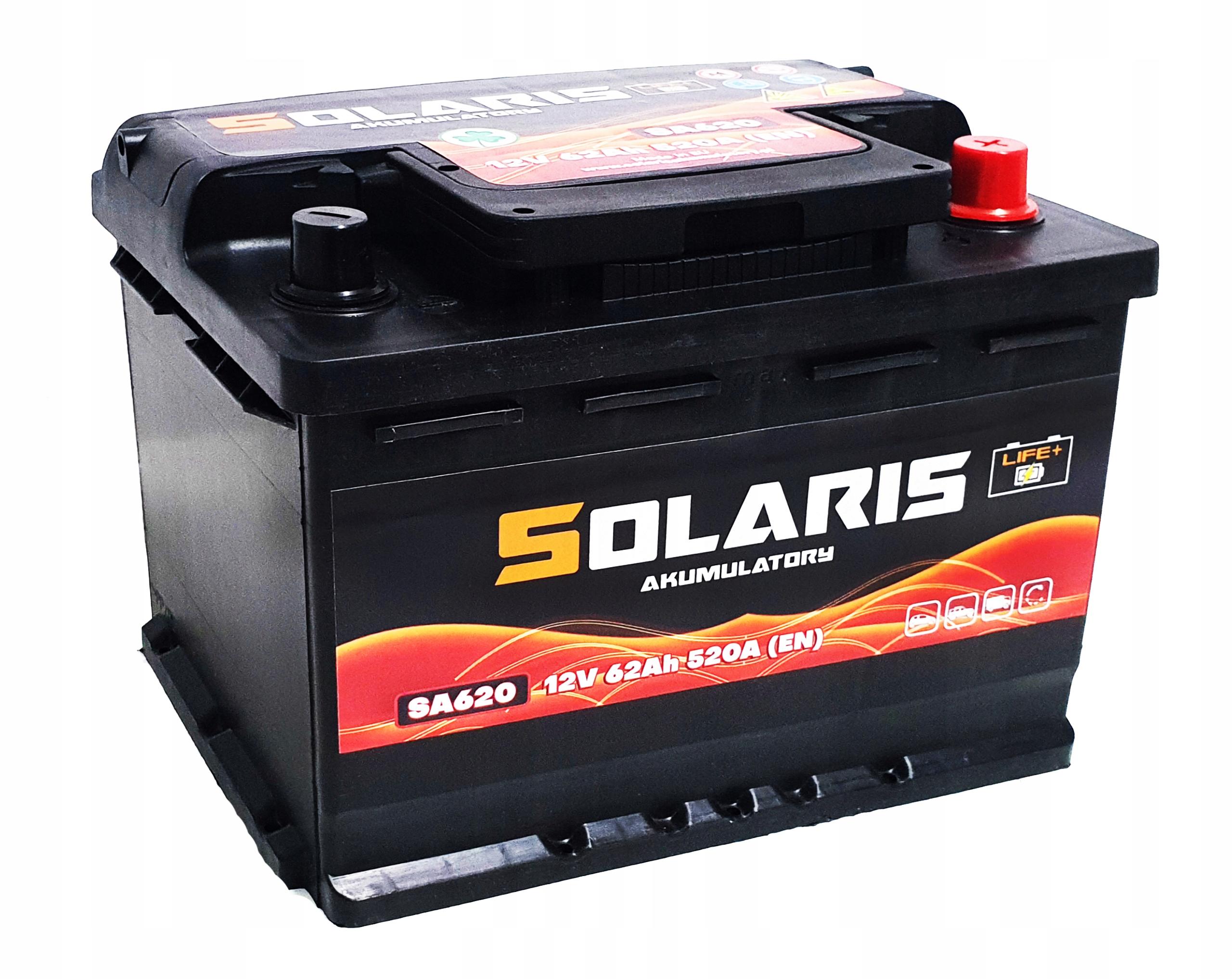 аккумулятор solaris 62ah 520a они 60 620
