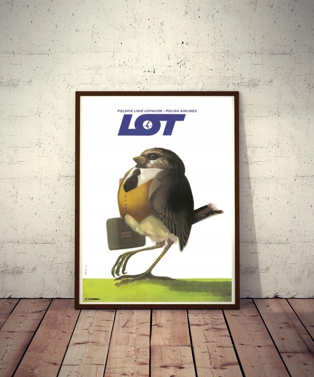Plakat LOT Wróbel Polskie Linie Lotnicze J. Stanny