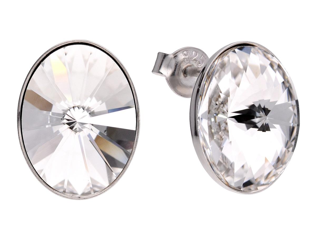 Náušnice biele 925 sterling silver oválne biele Swarovski
