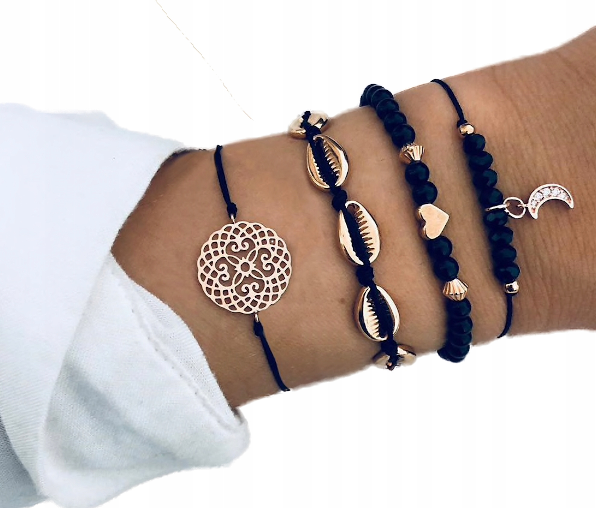 Item SET Bracelet gold chain moon mandala