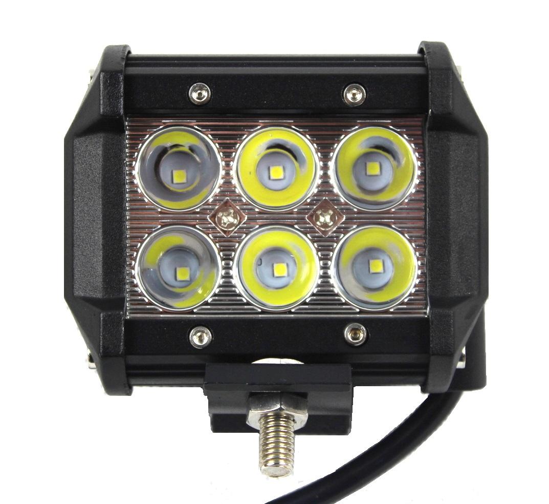 лампа рабочая 6 led cree панель галоген 18w 12v 24v