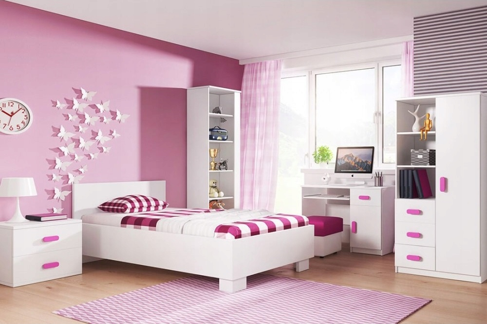 Мебель молодежные комплект Белый двуспальной кроватью, книжным шкафом мат
