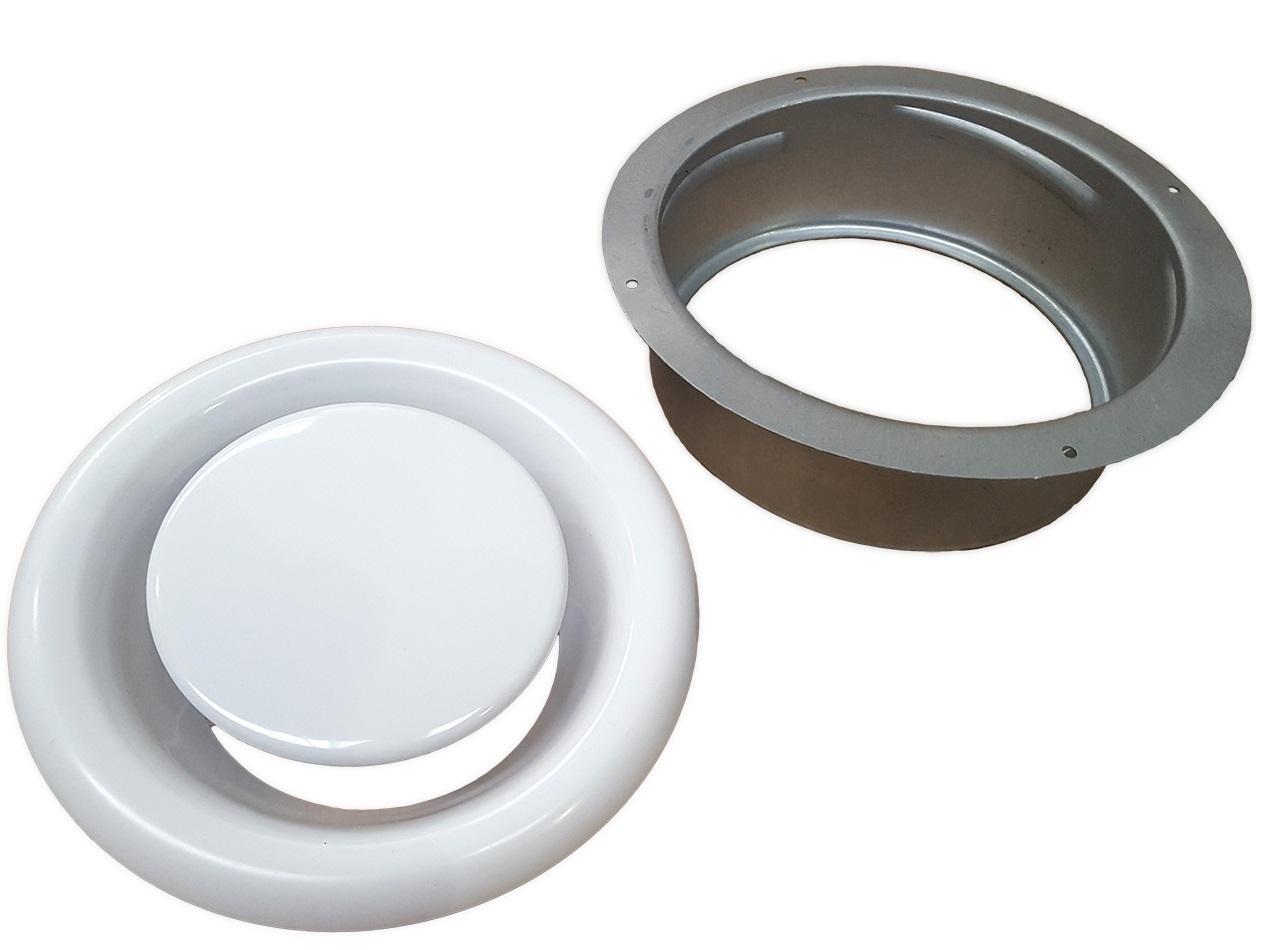 ANEMOSTAT metalowy WYCIĄGOWY kratka 150 mm + RAMKA