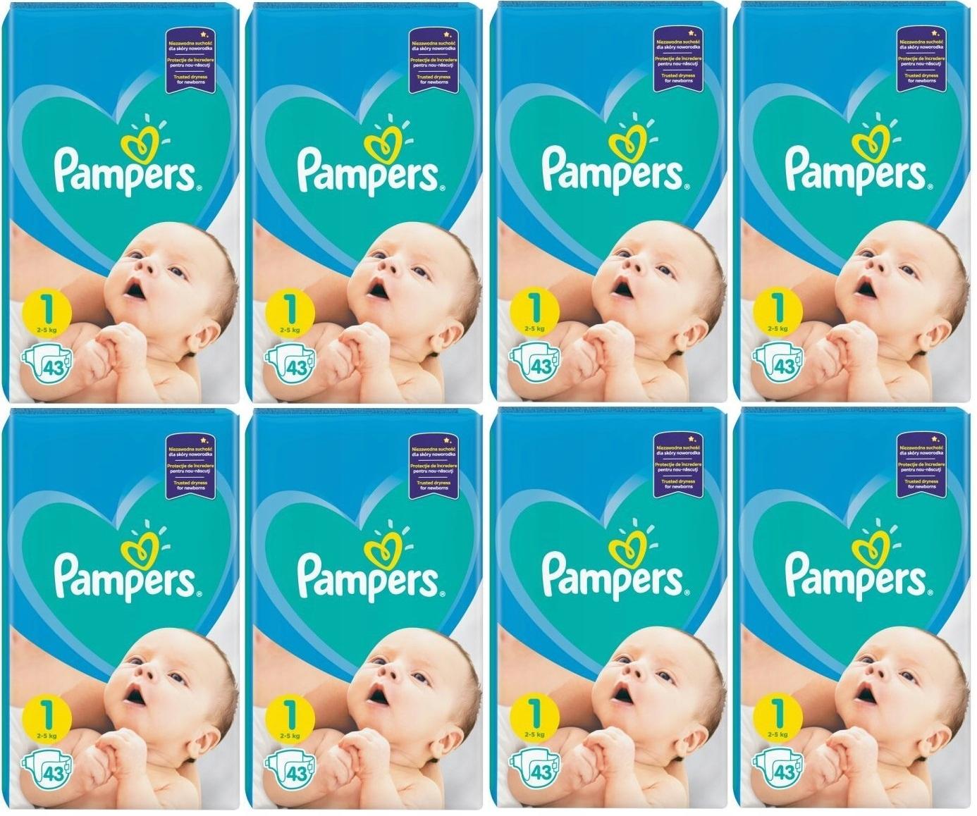 ПОДГУЗНИКИ PAMPERS New Baby 1 NEWBORN x 8 | 344 ШТ!