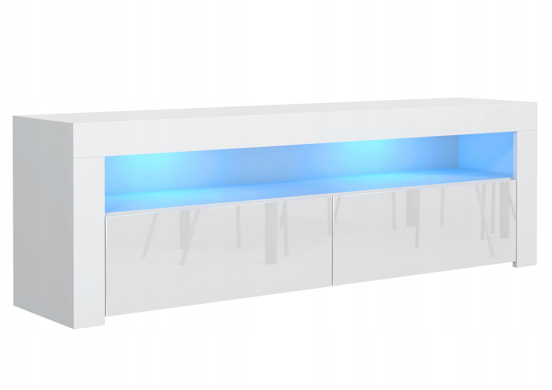 KOMODA STOLIK BIAŁY RTV 130 CM POŁYSK BIAŁY + LED
