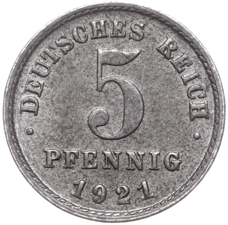 Nemecko 5 Pfennig 1921 F Železo - Mince s Roll