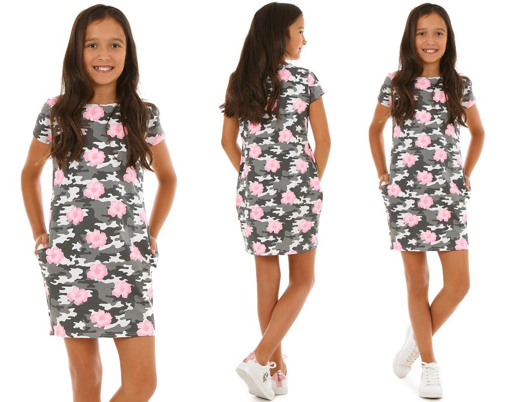 Платье TUBA с карманами, CAMO FLOWERS - 146