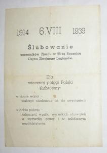 LEGIONY 6. VIII 1914 - 1939 25 ROCZNICA KRAKÓW