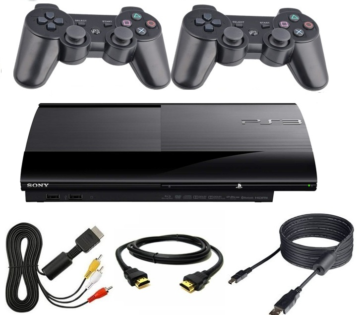 Item PLAYSTATION 3 PS3 500GB + 2 PADS NEW +WIRING