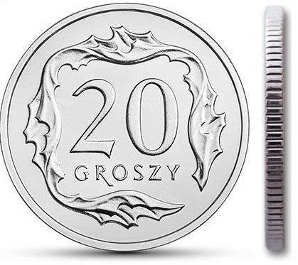 Монета монетного двора 20 грошей 1998 года с мешком