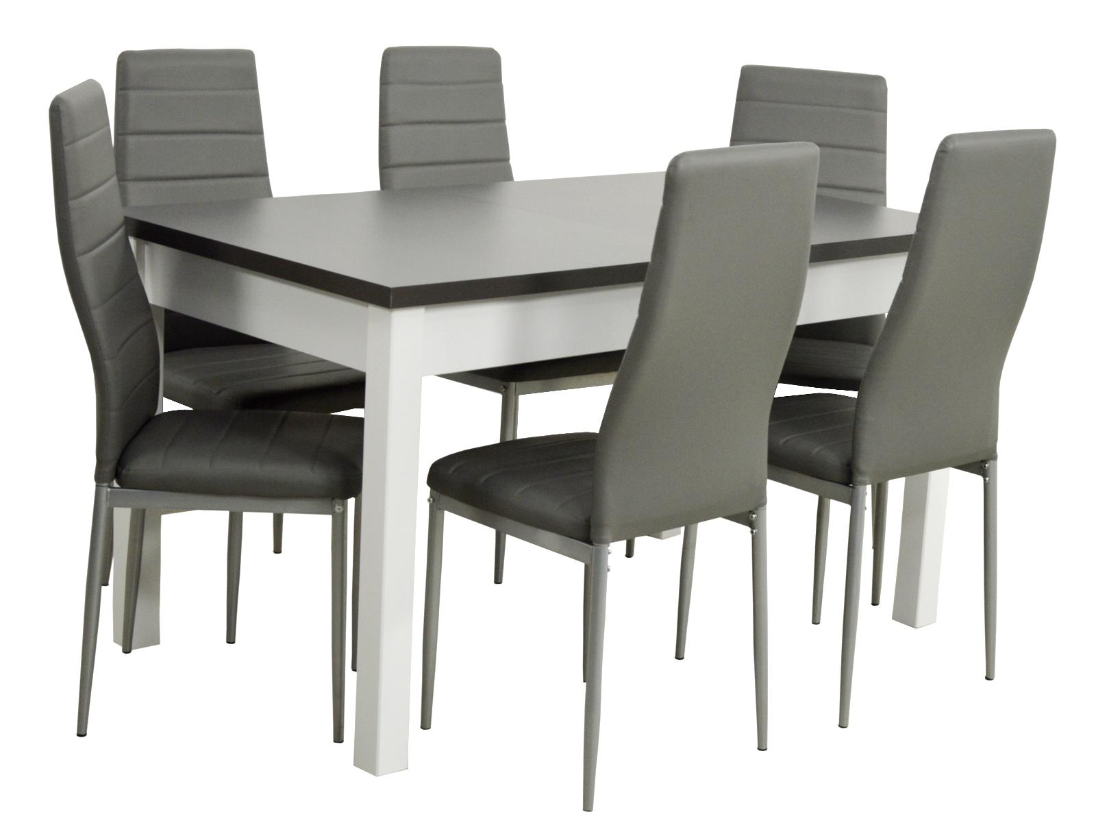 6 стульев и большой складной стол с белой графитовой столешницей