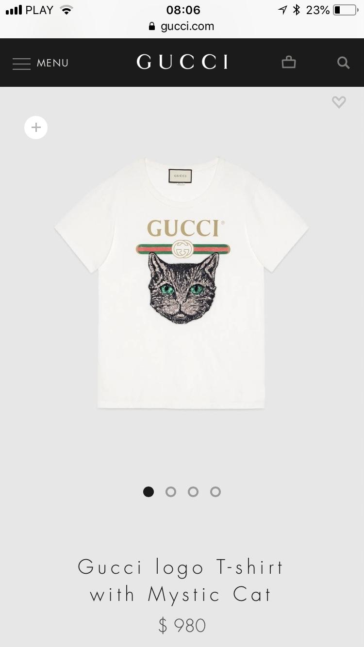 391ded29f905d Gucci bluzka nowa bawełna kot t-shirt markowa - 7535301451 ...