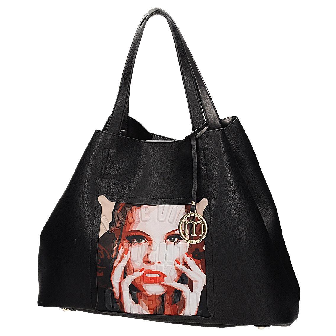 Monnari torebka damska czarna shopperka worek