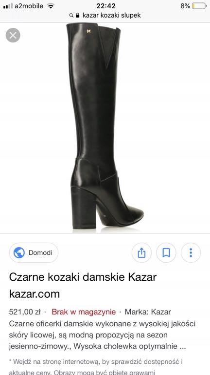 17f752134b8fad Kazar kozaki wysokie czarne skora 40 jak nowe - 7730358756 ...
