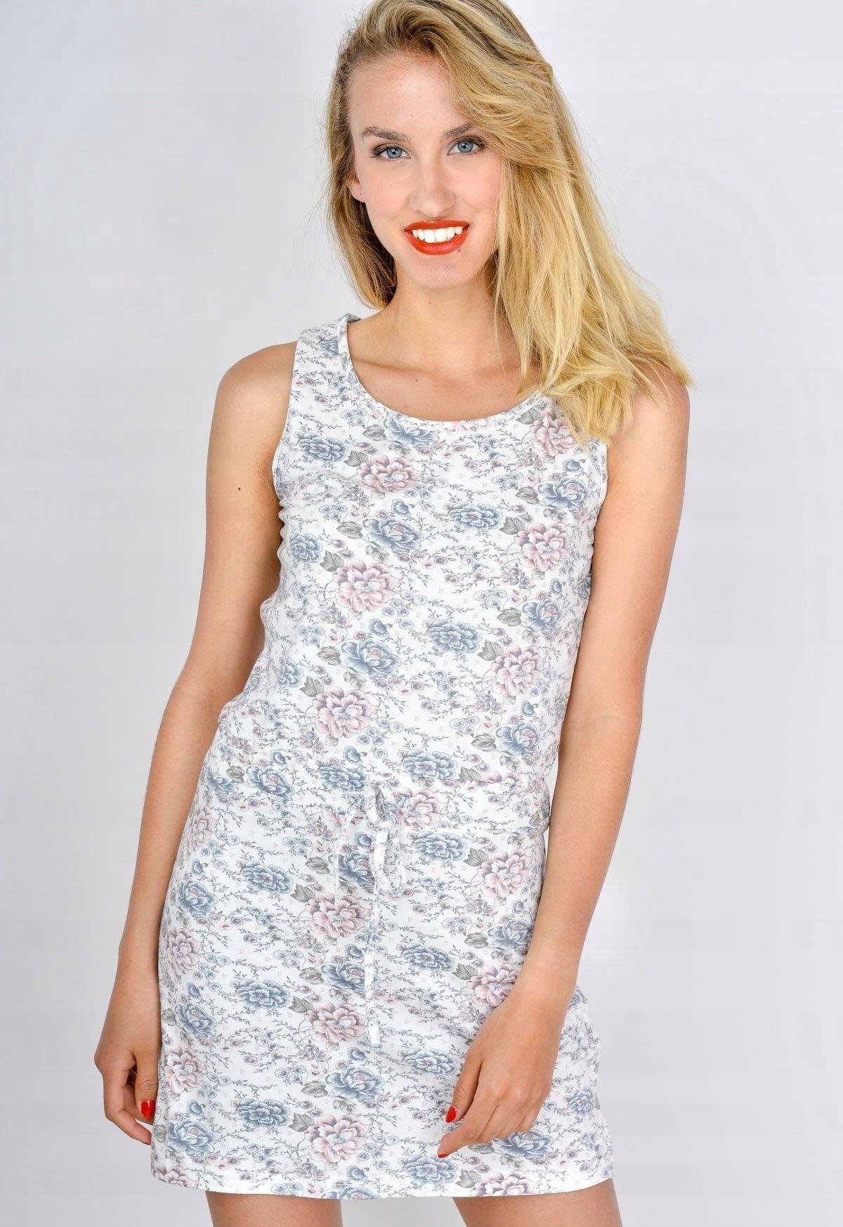 1713928110 Wygodna letnia sukienka w kwiaty Jasny szary S M - 7513161737 ...