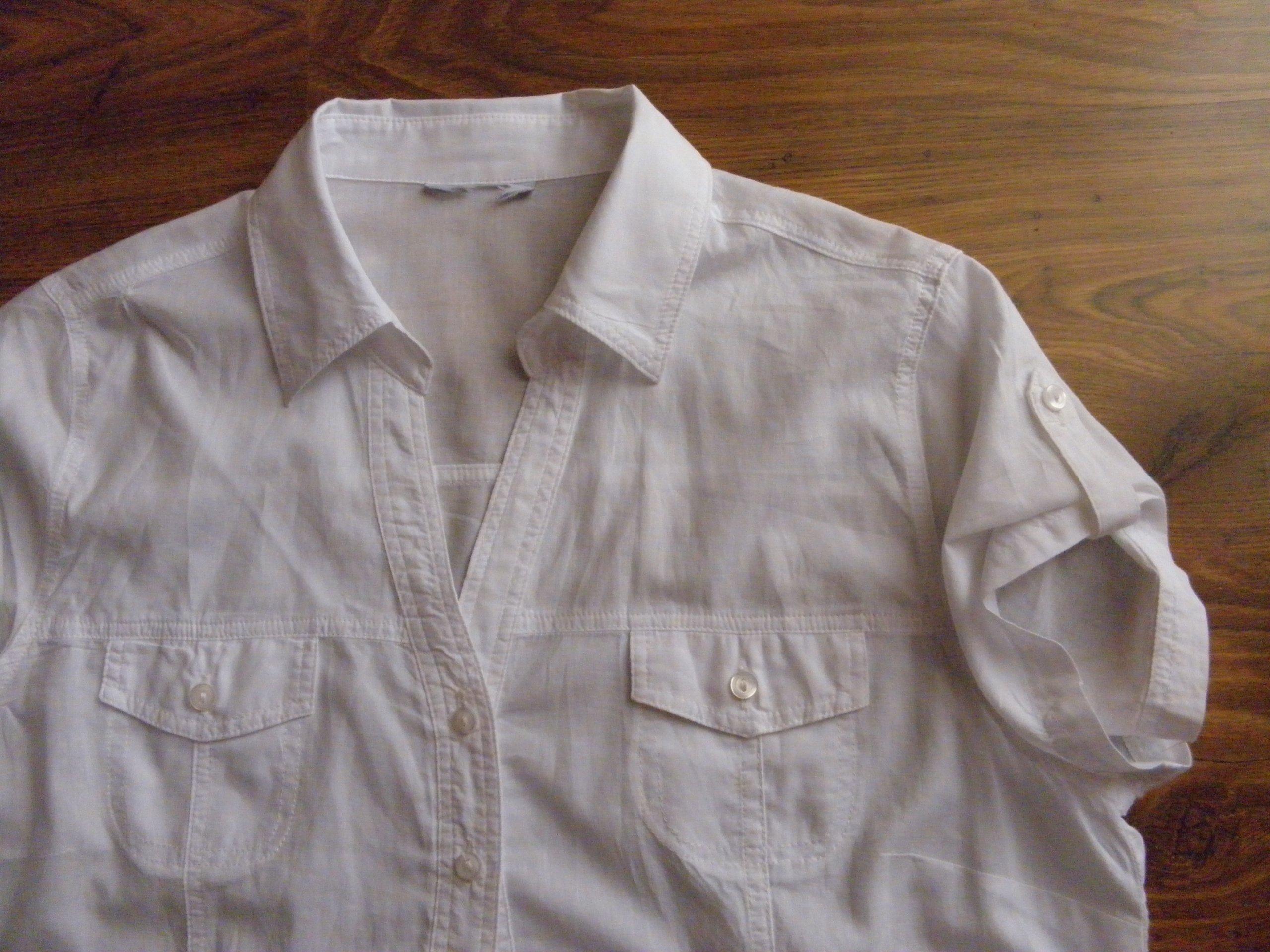 8c4eee12cd9769 biała koszulowa krótki rękaw 100% bawełna r.40/42 - 7403086470 ...
