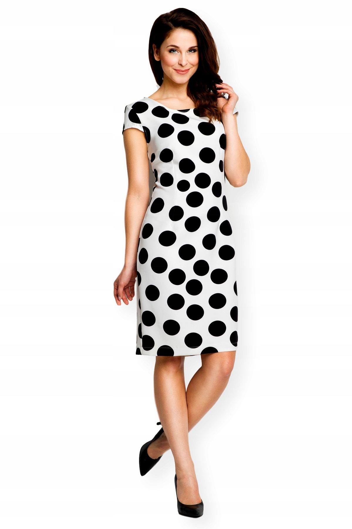 c4b774675f AWAMA Dopasowana ołówkowa sukienka w grochy M 38 - 6760061439 ...