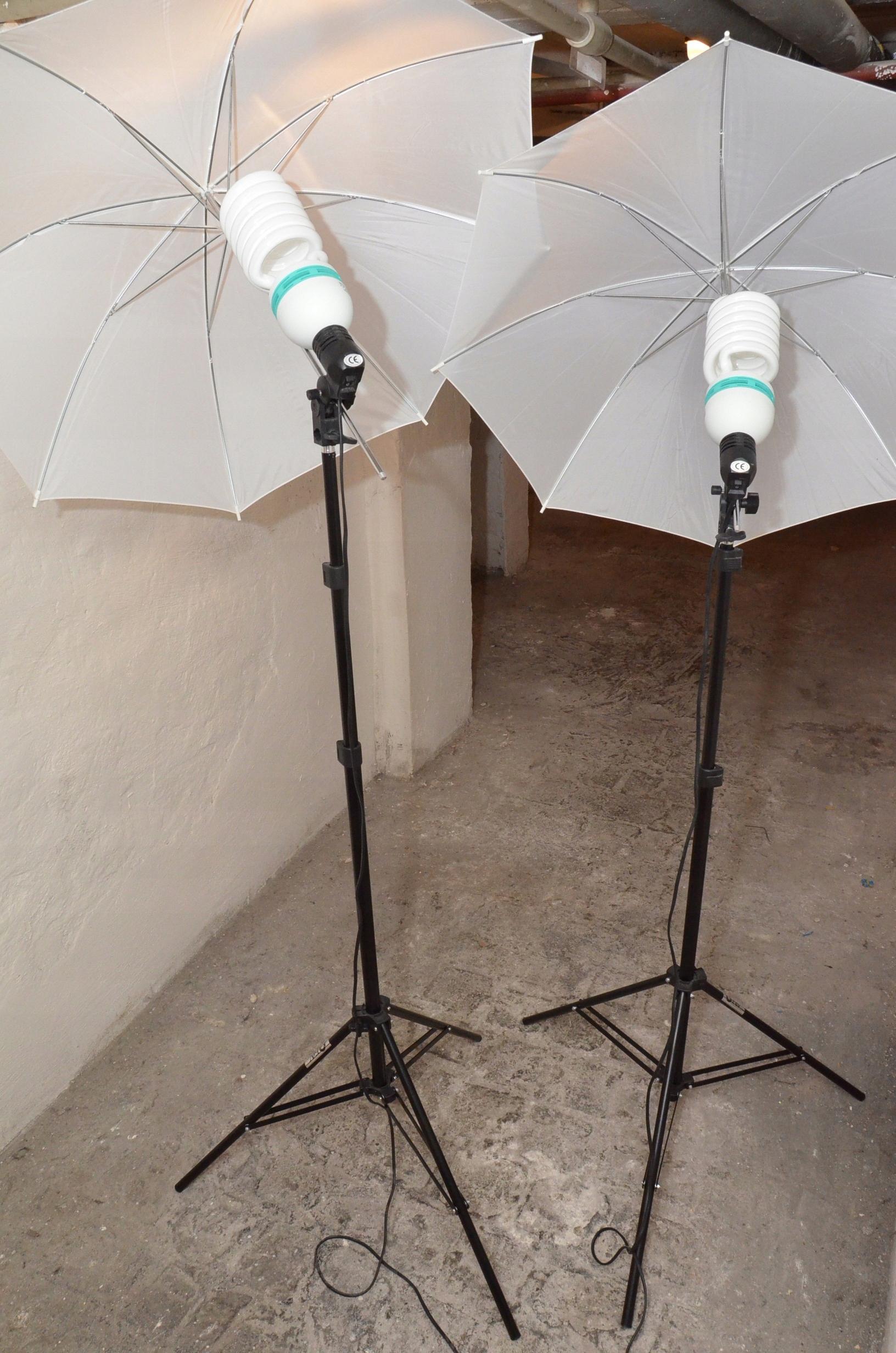 Oświetlenie Studyjne 2x Statyw żarówka Parasolka