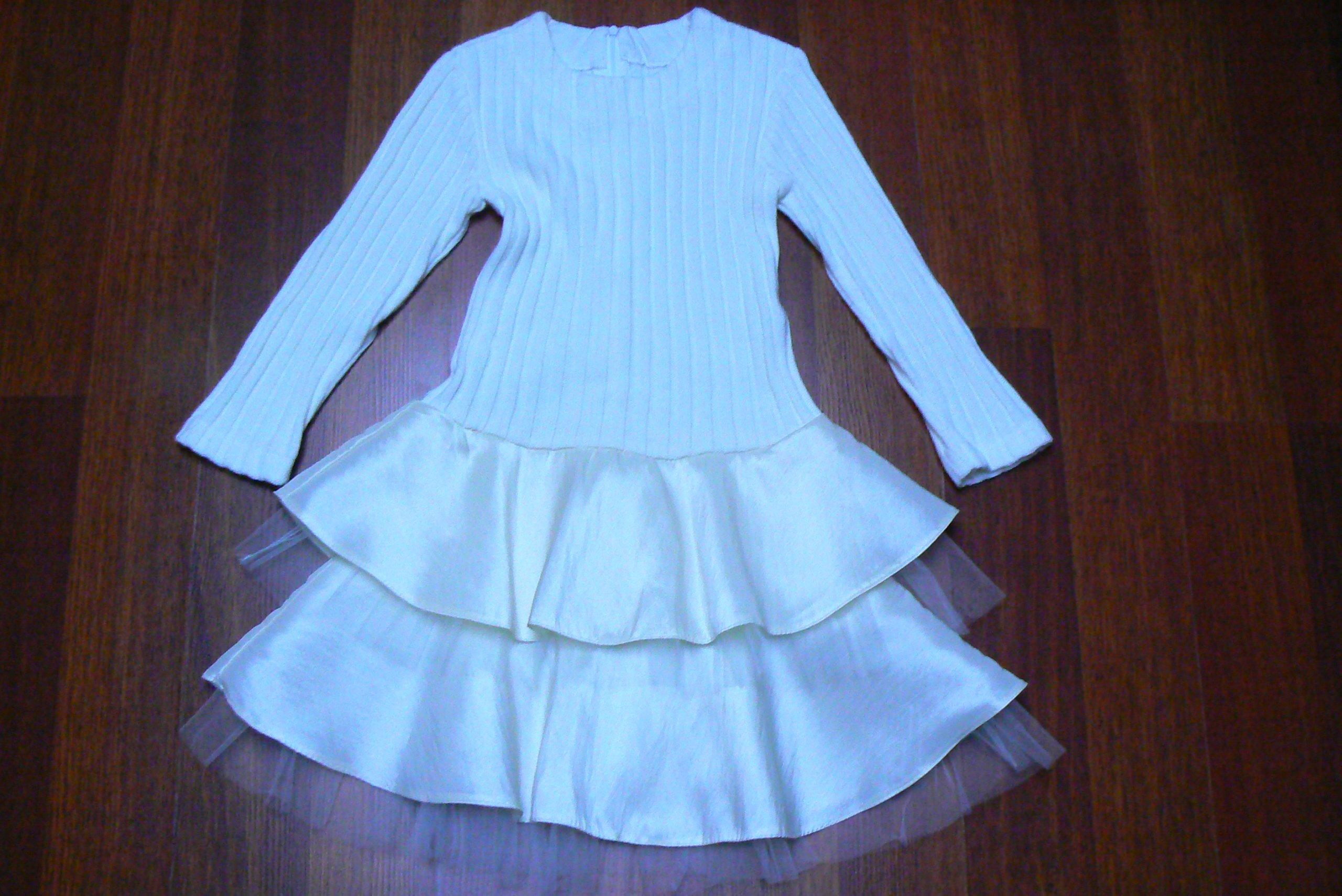 aef618afbb Piękna sukienka dzianina + kaskada falban 116 122 - 7121995139 - oficjalne  archiwum allegro
