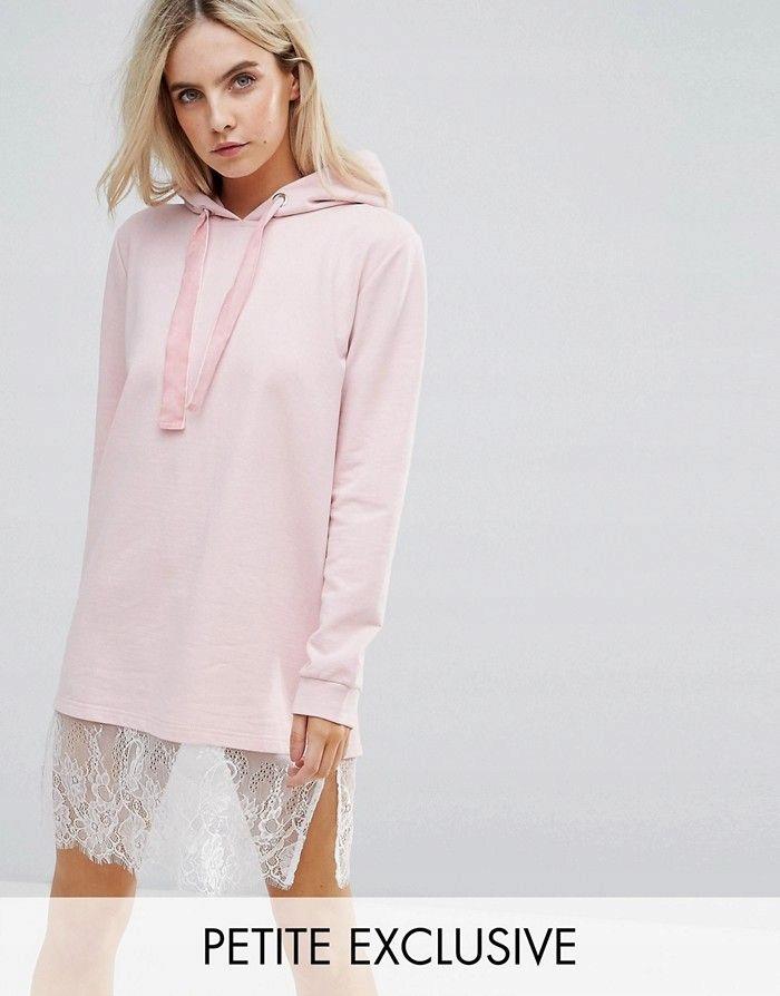 cb9f5362cc BOOHOO PETITE Różowa sukienka dresowa koronka (38) - 7674843888 ...