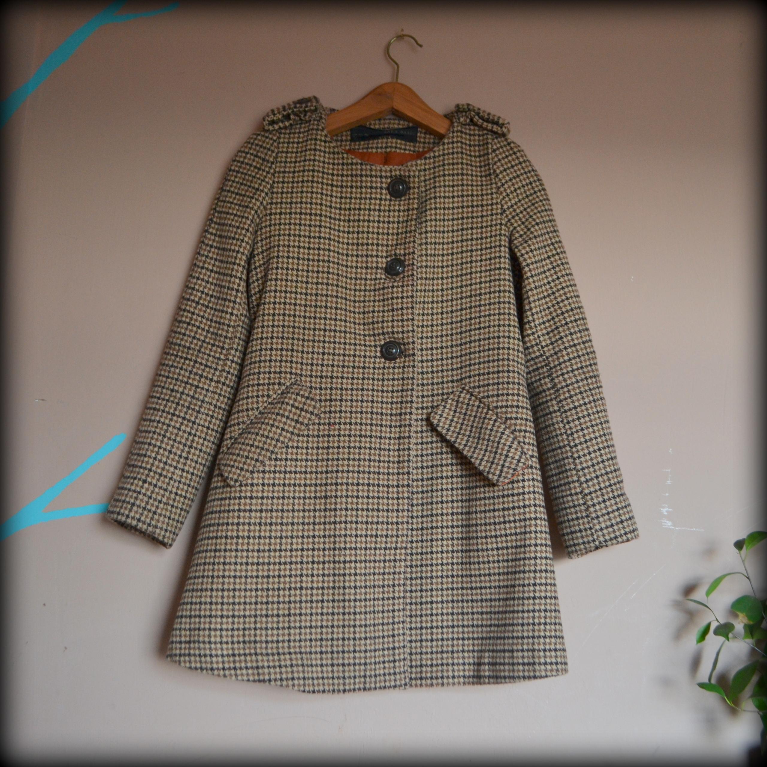 0ec7ccf2d Płaszcz w kratę, trendy wełna pepitka , Zara r. S - 7686506275 ...