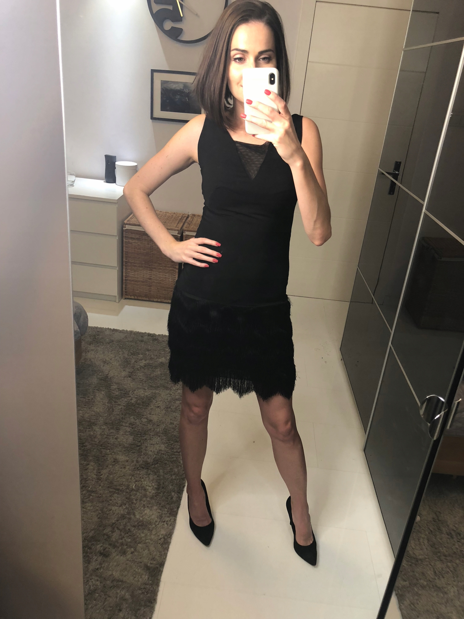 33b93f8cef SZAFA ZOSI- Czarna sukienka z frędzlami- MG - 7636411142 - oficjalne ...