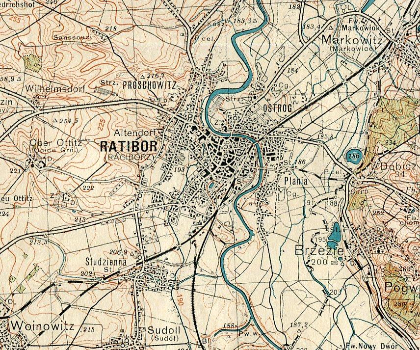 Racibórz Kietrz Mapa Wojskowa Wig 1933