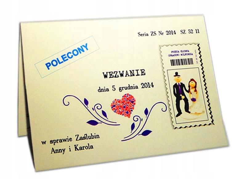 Zaproszenia ślubne Wezwanie Koperta Gratis 6875693757