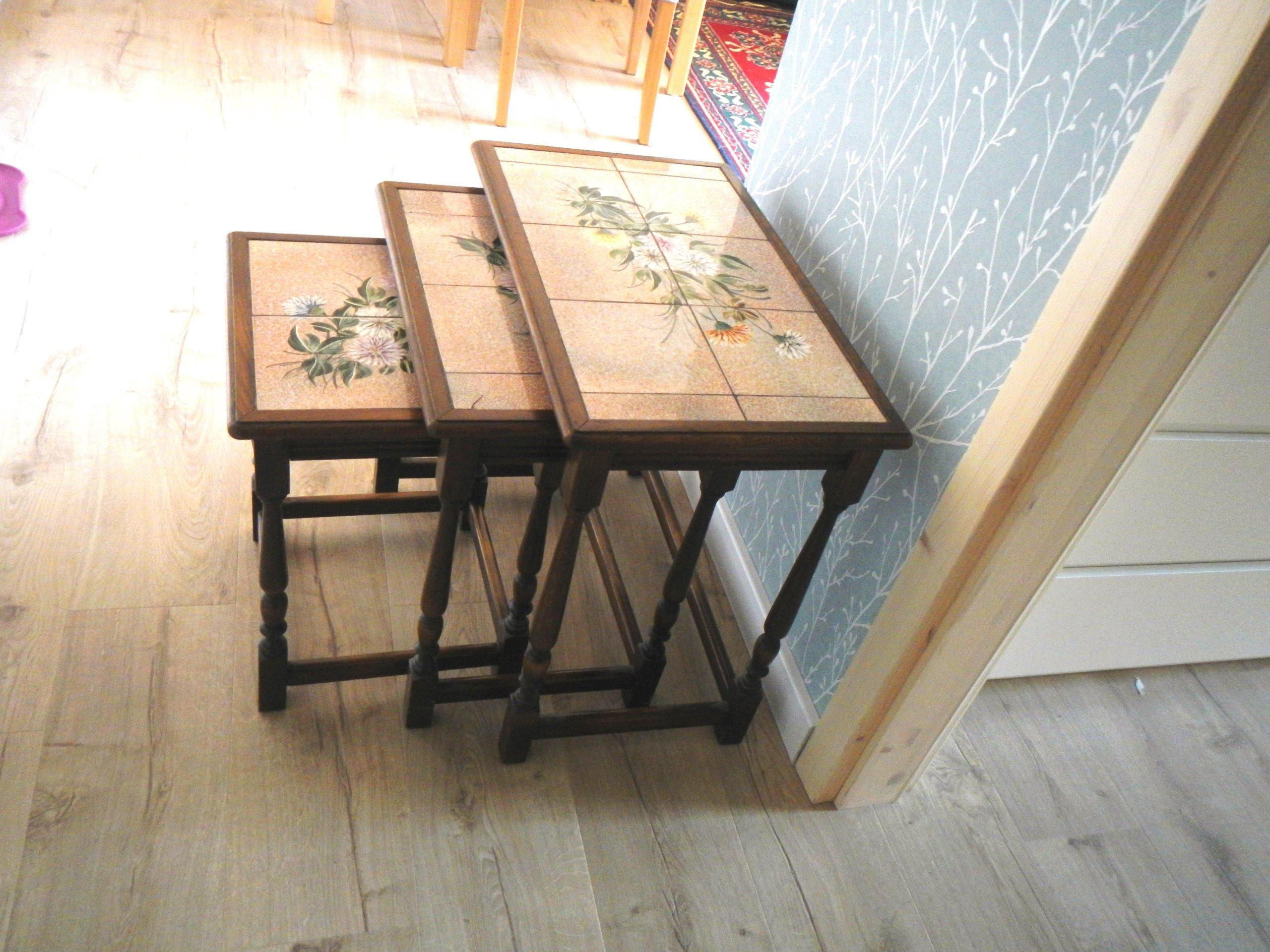 Trzy Stoliki Kawowe Stare Drewnokafle
